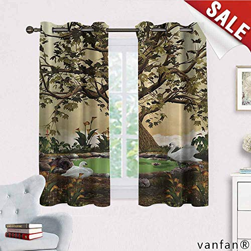 Big datastore Lake House Decorations Swans in a Garden with an Aged Tree Curtains for Bedroom, Blackout Printed for Kitchen, W63 x L72 ()