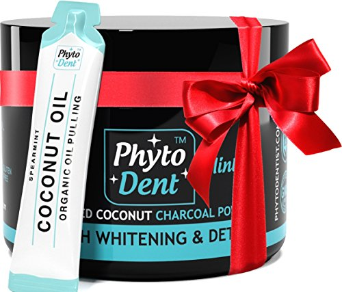 Teeth Whitener – Charcoal Teeth Whitening – 100% Coconut Activated Powder – Best Christmas Gift - Better than Whitening Toothpaste - No Fluoride - No Titanium Dioxide
