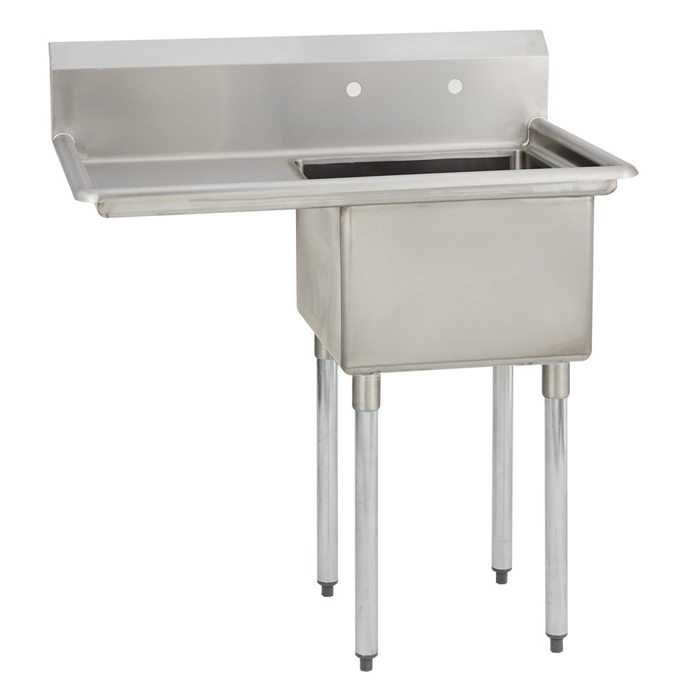 Fenix Sol One Compartment Stainless Steel Sink, Bowl: 18''L x 24''W x 12''D, Overall Size: 38.5''L x 29.8''W x 43''H, 1 x 18'' Left Drainboard, Galv Legs