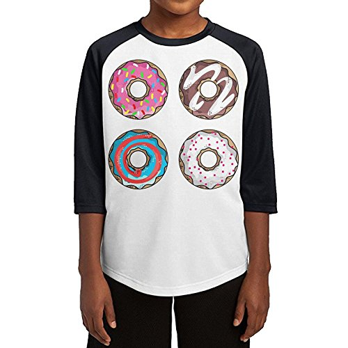Ideas Party Costume Spy (Paplo Youth Colorful Donuts 3/4 Sleeve Baseball Raglan 100% Cotton Tee Shirt Size)