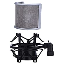 Universal Microphone Shock Mount with Pop Filter, Mic Anti-vibration Suspension Shock Mount Holder Clip for Diameter 46mm-53mm Microphone