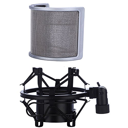 Microphone Shock Mount with Pop Filter, Mic Anti-Vibration Suspension Shock Mount Holder Clip for Diameter 46mm-53mm Microphone - Mm 53