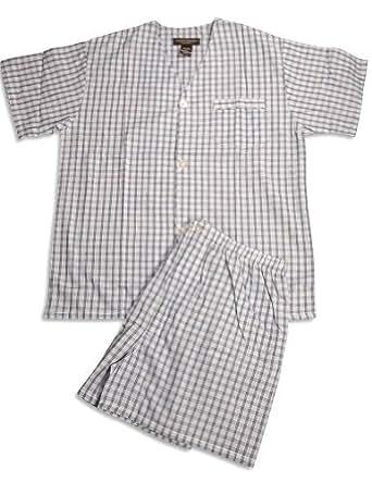 State O Maine - Big Mens Short Sleeve Plaid Knee Length Pajamas, Blue 31683-XXX-Large