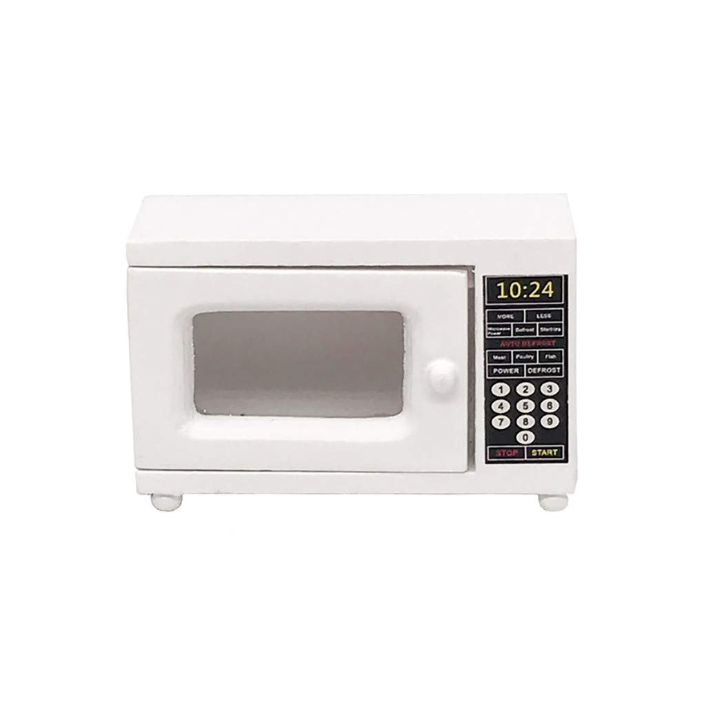 Kasien Dollhouse Accessory Mini Microwave Oven, 1:12 Dollhouse Miniature Furniture Room Wooden Furniture Microwave Oven White