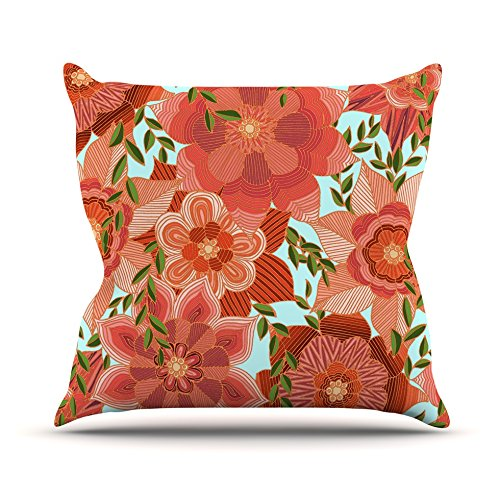 Kess InHouse Art Love Passion Flower Power Red Floral Outdoor Throw Pillow, 18'' x 18''