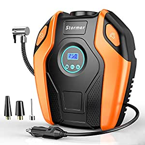 Tire Inflator, STORMER Air Compressor Pump, 12V DC Portable Auto Tire Pump with Digital Display up to 151PSI for Car, Bicycle and Other Inflatable ...