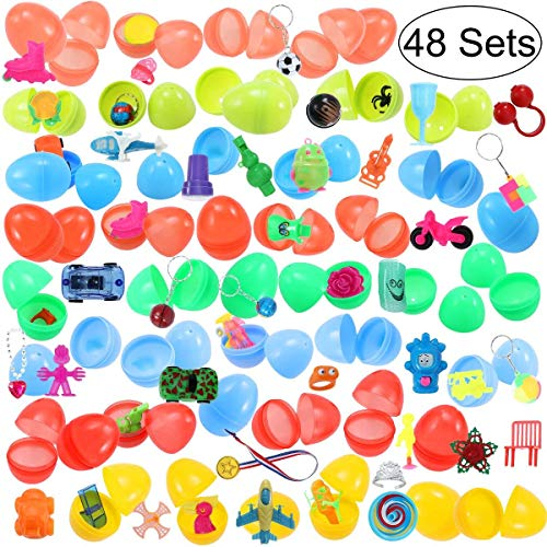 """iBaseToy 48 Toy Filled Easter Eggs with 48 Different Toys 2.6"""" Bright Colorful Prefilled Plastic Surprise Eggs for Easter Egg Hunt Party"""