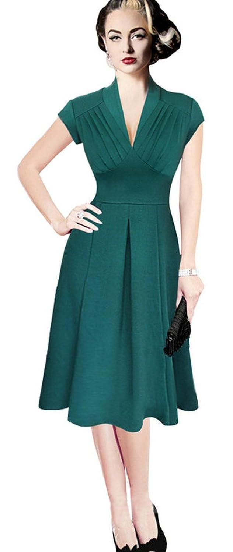 Babyonline® Damen Kurz Arm Cocktailkleid 50er 60er Jahre Faltenrock Vintage Abendkleider