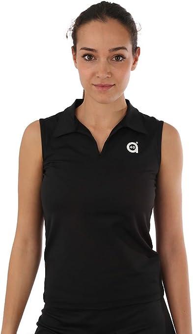 a40grados Sport & Style, Polo Plomo Negro, Mujer, Tenis y Padel ...