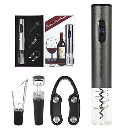 ieces Electric Wine Opener Cordless Battery Powered Electric Corkscrew Cordless Wine Bottle Opener Set with Foil Cutter, Vacuum Stopper & Wine Pourer, Silver ()