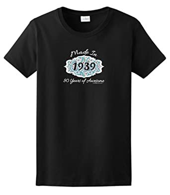 80th Birthday Party Supplies Gift Made 1939 Paisley Crest Ladies T Shirt Small
