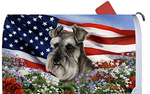 (Best of Breed Schnauzer Grey Uncropped Patriotic I Dog Breed Mail Box Cover )