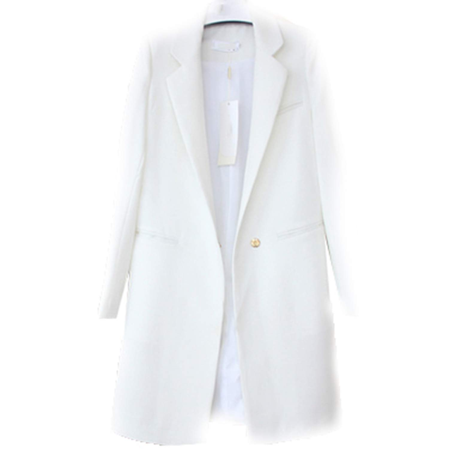 Molif Women Blazers Jackets Spring Autumn Casual Long Women Suits Wide Waisted Solid Female Jacket White S