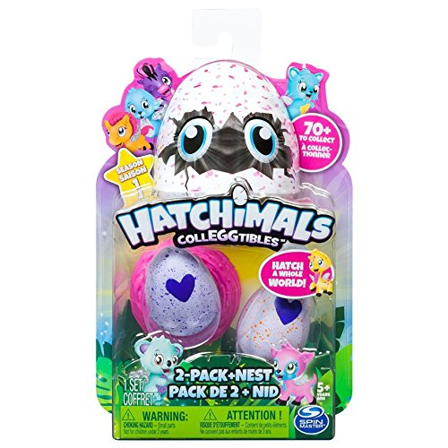Hatchimals Colleggtibles - 2 Pack and Nest - Adorable Collectible Hatchimals that Come Inside Small, Speckled Eggs ((Styles & Colors May Vary)