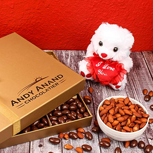 Special Gift Basket, Plush I LOVE YOU Teddy Bear with Vegan Premium Almonds covered in Rich Dark Chocolate - 1 lbs.