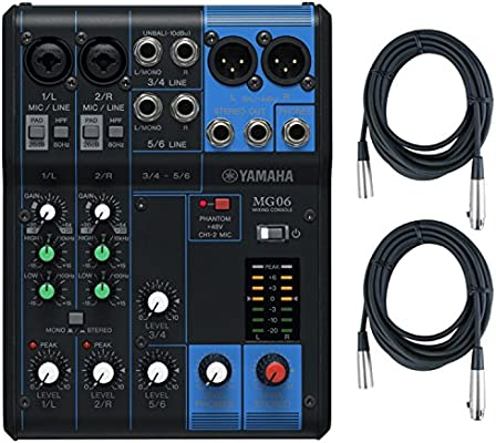 Amazon.com: Yamaha MG06 6-Input Stereo Mixer w/ (2) 20 XLR Mic Cables: Musical Instruments
