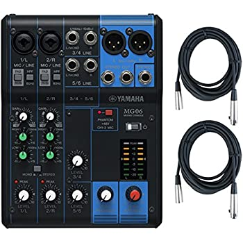 yamaha mg06 6 input stereo mixer w 2 20 39 xlr mic cables musical instruments. Black Bedroom Furniture Sets. Home Design Ideas