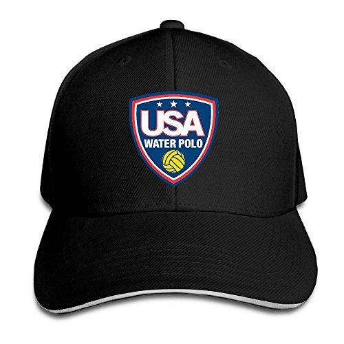 Unisex USA Water Polo Logo Adjustable Snapback Baseball Cap Black One Size