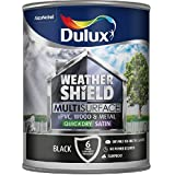 Dulux Weathershield Quick Dry Multi Surface Paint. Satin Black. 750ml for uPVC, wood and metal (no primer/undercoat required) by Dulux