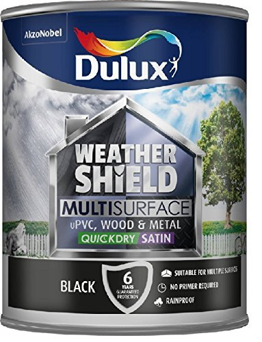 Nobel Metals (Dulux Weathershield Quick Dry Multi Surface Paint. Satin Black. 750ml for uPVC, wood and metal (no primer/undercoat required) by Dulux)