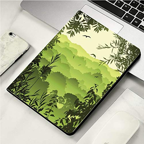 "Case for iPad Pro Case Auto Sleep/Wake up Smart Cover for iPad 10.5"" Case Forest Forest Scenery with Tea Trees and Gulls in The Jungle Birds Branches Eco Graphic Work Green"