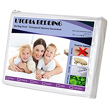 Zippered Bed Bug Proof Mattress Encasement (King) Ample Zipper Opening, Waterproof Mattress Cover - Mattress Protector, Ultimate Protection Against Insects and Dust Mites by Utopia Bedding