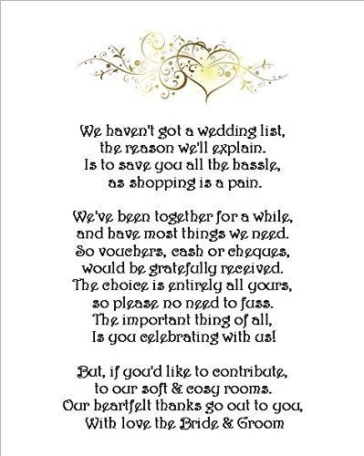 10 x wedding Money Gift richiesta poesia carte per inviti di