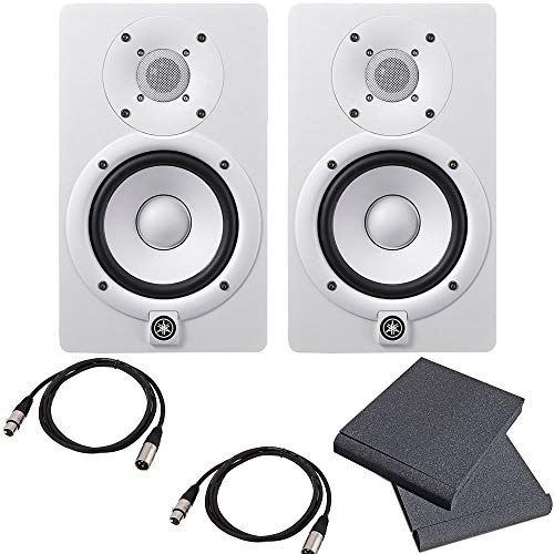 Yamaha HS5 Powered Studio Monitor Pair White Bundled with Studio Monitor Isolation Pads (Pair) and 2 x 15-Ft XLR Cables