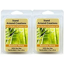 Set of 2 - 100% All Natural Soy Wax Melt Tarts - Scent: Bamboo Hemp An incredibly well-balanced blend of bamboo stalks, vetiver, and patchouli, with undertones of hemp seed and oak moss. 3 oz. each. Naturally Strong, Highly Scented.