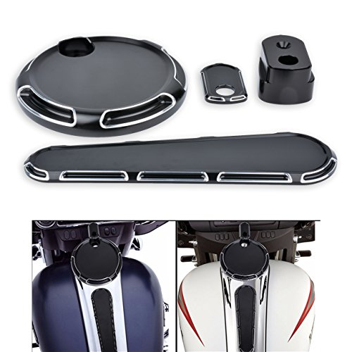 KaTur 3 Pieces CNC Black Deep Cut Dash Accessory Pack Tank Cover for Harley Touring FLHX FLTRX 2014-2017