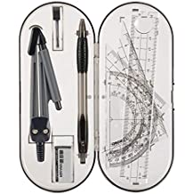 Math Geometry Kit Set - Student Supplies Drawing Compass,Protractor,Rulers,Pencil Lead Refills,Pencil,Eraser for Student