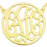 "10KY-Mono150R 10K Yellow Gold(1.5""x0.4mm thin)Circle Monogram Necklace"