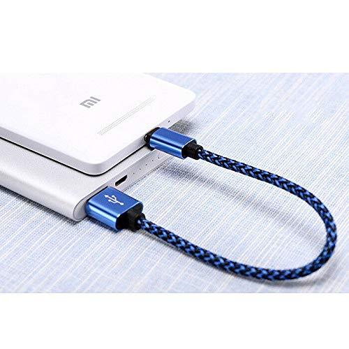 FidgetKute USB-C Type C Male Cable to USB A Male Nylon USB Power Data Cable / 25cm BU Show One Size