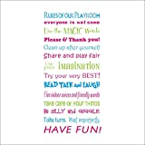MLM 47.2'×22.4' Rules Of Our Playroom Every One Is Welcome Wall Decal Decor Sticker Removable Super for Nursery Playroom Children's Bedroom