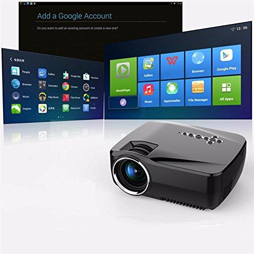 最新マートAndroid 4.4 WIFI Bluetooth 1200Lumensサポート1920x1080Pホームシアター向けアナログTV LEDプロジェクターMINIプロジェクターHDMIケーブルサポートDLNA Miracast B077LGQRKV