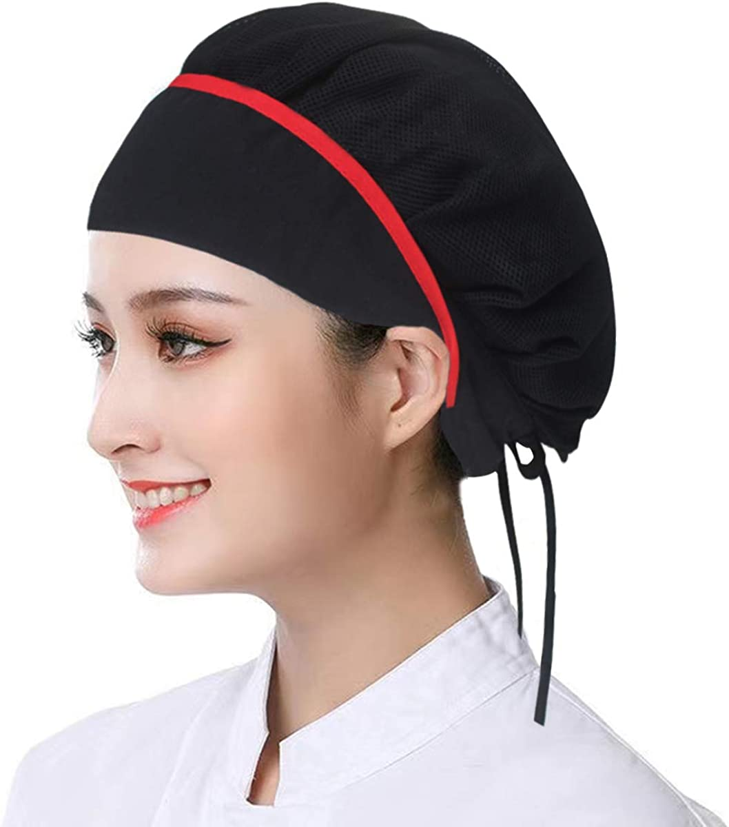 2pcs Chef Hats Adjustable & Reusable Kitchen Cooking Chef Caps Food Service Hair Nets Breathable Mesh Work Hat