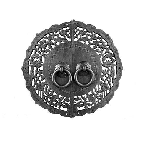 Handle,Chinese knocker Antique handle Copper parts Copper lock Door handle Single hole round handle Furniture hardware accessories Cabinet face plate u shape needle--diameter 14.5cm-L Needle Hole Plate