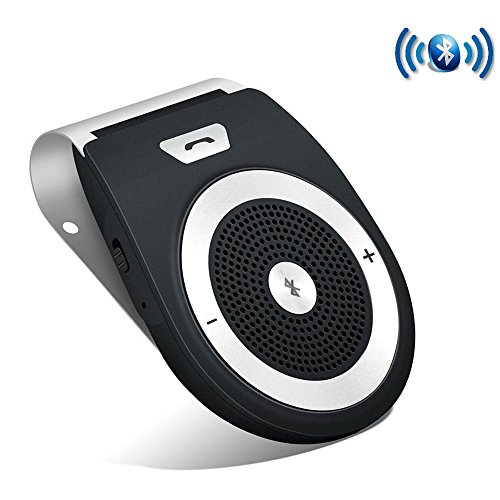 Aigital Bluetooth Car Kit Speakerphone Wireless AUTO POWER ON Handsfree Visor Speaker, HD Audio Adapter for Hands-Free Calling Music GPS Navigation – Black