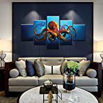 Meigan Art- 5 Pieces Deep-sea Octopus Wall Art Painting The Picture Print On Canvas Animal Pictures for Home Decor… 7