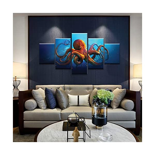 Meigan Art- 5 Pieces Deep-sea Octopus Wall Art Painting The Picture Print On Canvas Animal Pictures for Home Decor… 4