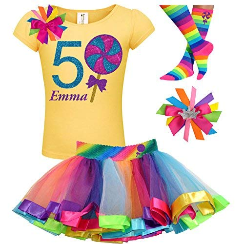 Lollipop Shirt Girls 5th Birthday Outfit Candy Rainbow Tutu Skirt 4PC Gift Set Custom Name Age 5