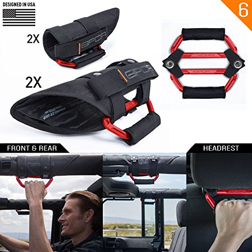 GPCA GP-Grip PRO Grab Handle for Jeep Wrangler JL JK Sports/Sahara/ Freedom/Rubicon X Unlimited X 2DR/ 4DR 2007-2019 w/ 3″ Padded roll Bars (Universal to Front/Backseat) (4 + 2 Pack Firecracker Red)