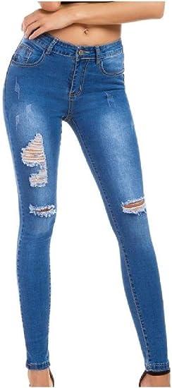 AngelSpace Womens Skinny Pencil Pants Slim Hi-waist Elastic Denim Trousers