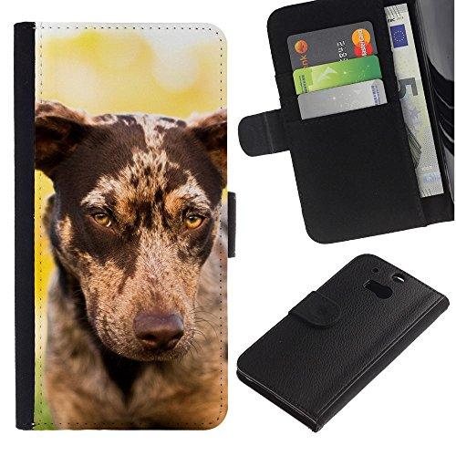 EuroCase - HTC One M8 - whippet saluki big dog piebald spots - Cuero PU Delgado caso cubierta Shell Armor Funda Case Cover