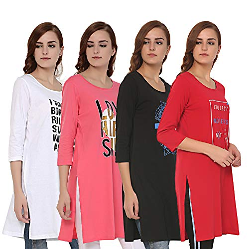 TRAZO Printed Round Neck Full Sleeve Long Cotton white, pink, black & red T Shirts For Women (Combo 4)