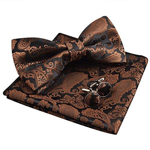 Men's Paisley Bow Tie& Hanky& Cufflinks Set (Coffee) ()