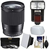 Sigma 16mm f/1.4 Contemporary DC DN Lens with 3 UV/CPL/ND8 Filters + Flash + Diffuser + Soft Box Kit for Sony Alpha E-Mount Cameras