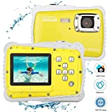 BYbrutek Kids Camera, 12MP HD Children Underwater 3M Waterproof Action Camera Camcorder, 2-Inch