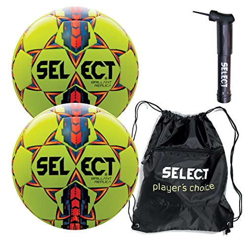 Select Brilliant Super Replica Soccer Ball with Sack Pack & Hand Pump (Pack of 2), Yellow, Size 5 (Select Soccer Ball Brilliant)