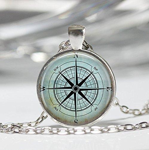 Nautical Compass Necklace Compass Rose Mariner's Jewelry Nautical Ship Ocean Art Pendant